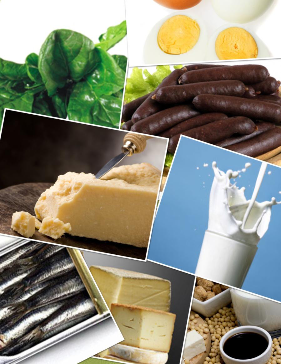 Épinards, oeufs, fromages à pate dure, produits laitiers, boudin noir, soja et poissons gras : faites votre choix. Il y en aura pour tout le Monde et tous les goûts!